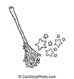 magia, escoba, caricatura