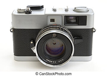 35mm Film Camera - An old 35mm film camera on white...
