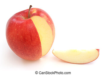 Apple Slice - A slice out of a bright red apple.