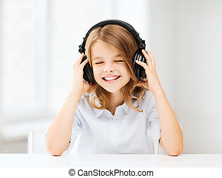 girl with headphones listening to music - home, technology...