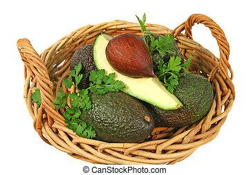 Avocado Quarter In A Basket