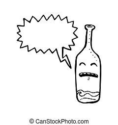 bêbado, vinho, garrafa, caricatura
