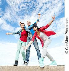 Grupo, adolescentes, Dançar