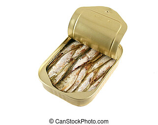 Can Of Sardines - An open can of sardines with the lid...