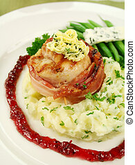 Chicken Mignon - Chicken fillet mignon on parsley mashed...