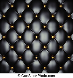 Upholstery pattern - Black leather upholstery with gold...