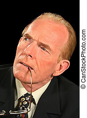 Concentrating Businessman - Businessman concentrating and...