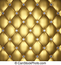Upholstery pattern - Golden leather upholstery with diamond...