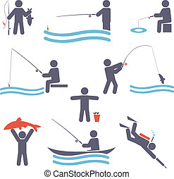 Fishing symbols. Set icons for you design