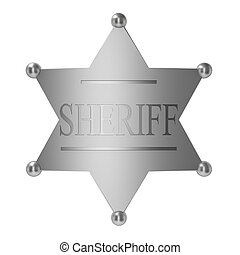 Sheriff badge 3d illustration on white background