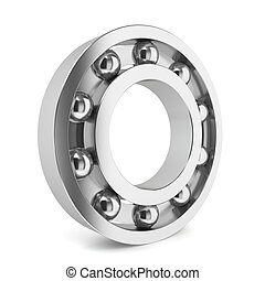 Steel ball bearing 3d illustration on white background