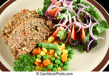 Meatloaf And Vegetables 1 - Homestyle lamb meatloaf with...