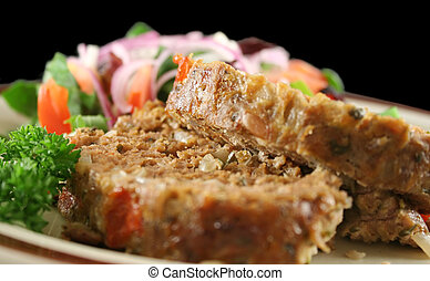 Meatloaf And Salad - Homestyle lamb meatloaf with vegetables...