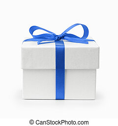 white textured gift box with blue ribbon bow, isolated on...