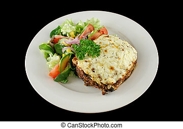 Moussaka 1 - Lamb moussaka with egg plant cheese and salad.