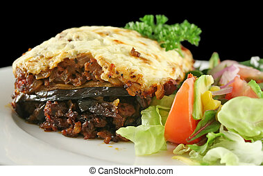 Lamb Moussaka - Lamb moussaka with egg plant cheese and...