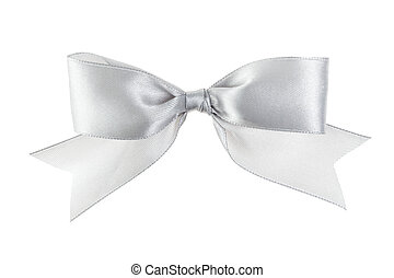 silver festive bow with tails made from ribbon