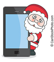 Santa Claus with mobile phone - Christmas card Santa Claus...