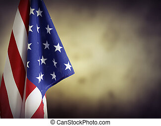 American flag in front of plain background Advertising space...