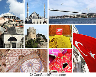 Landmark collage of Istanbul, Turke