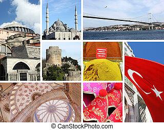 Landmark collage of Istanbul, Turkey