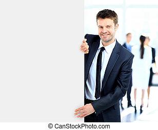 empresa / negocio, hombre, tenencia, largo, blanco, bandera