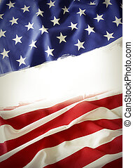 American flag divided, copy space