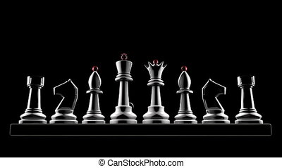 A successful career - Chess pieces on a black background (3D...