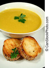 Pumpkin Soup With Garlic Bread - Piping hot pumpkin soup...