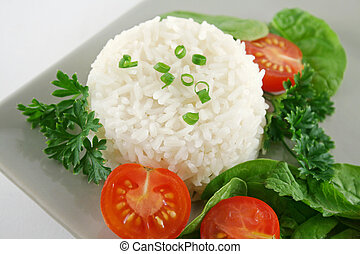 Rice Stack And Salad - Steamed rice stack with a fresh...