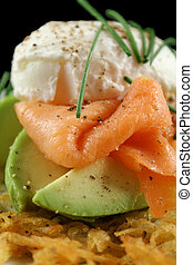 Salmon And Poached Egg Stack - Beautiful salmon and poached...