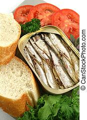 sardinhas, e, salada