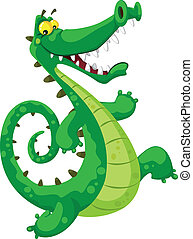 funny crocodile - illustration of a funny crocodile