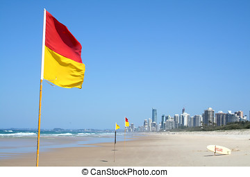 Swimming Safety Flags Gold Coast - Swimming safety flags on...