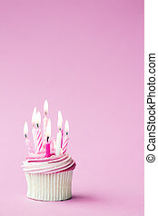 Birthday cupcake - Cupcake decorated with pink birthday...