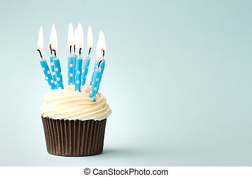 Birthday cupcake - Cupcake decorated with birthday candles