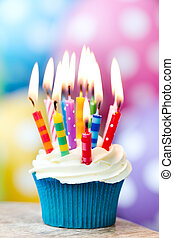 Birthday cupcake - Cupcake decorated with colorful birthday...