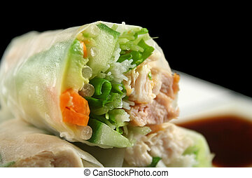 Vietnamese Rice Paper Roll - Sliced section of a healthy...