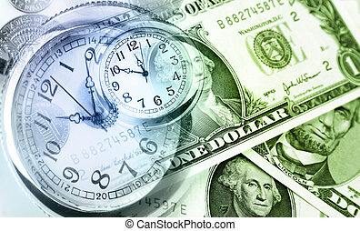 Time is money - American banknotes. Clocks. Time is money...