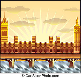 landscape with Londons Big Ben, Westminster Abbey, vector...