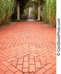 Formal Garden Path to Fountain in Distance - Red brick...