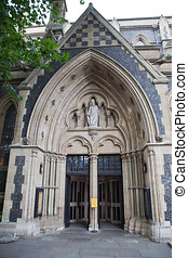 Entrance of Southwark Cathedral - London, United Kingdom -...