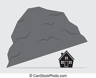 House Under Rock - Living under a rock. House under large...