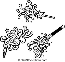 cartoon magic wands casting spells