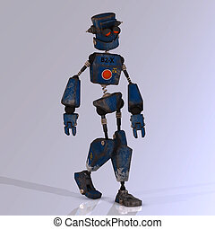 Cartoon robot with expressive emotion in his face -...