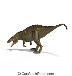 Dinosaur Acrocanthosaurus With Clipping Path over White