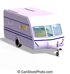 caravan trailer - camping or caracan car with Clipping Path