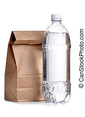 Sack Lunch - brown paper bag lunch with water bottle
