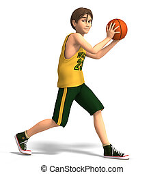 Young man plays basketball - a very young toon character...