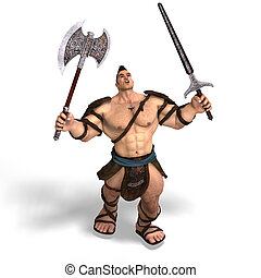 Muscular Barbarian Fight with Sword and Axe With Clipping...